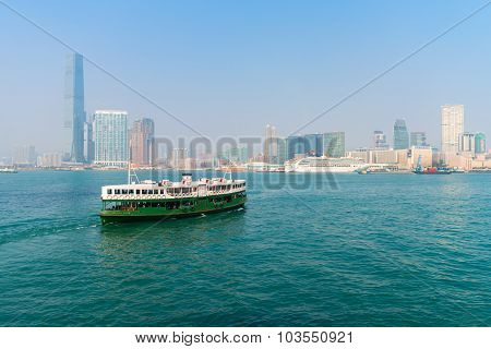 Ferry Crossing The Water In Modern City