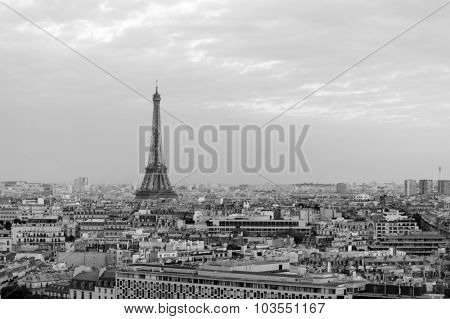 PARIS - AUGUST 09, 2015: Eiffel Tower at Paris downtown. Paris, aka City of Love, is a popular travel destination and a major city in Europe