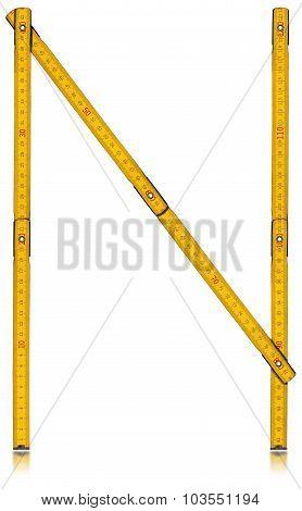 Font N - Old Yellow Meter Ruler