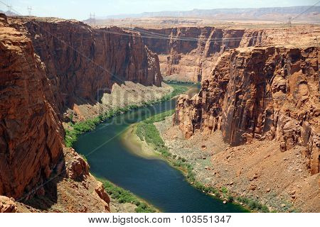 Colorado River Near To The Glen Canyon Dam, Usa