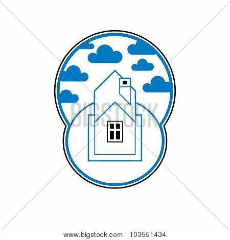 House Detailed Vector Illustration, Village Idea. Graphic Country House Image, Simple Building