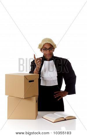 Juiz americano de jovem homem, atenção