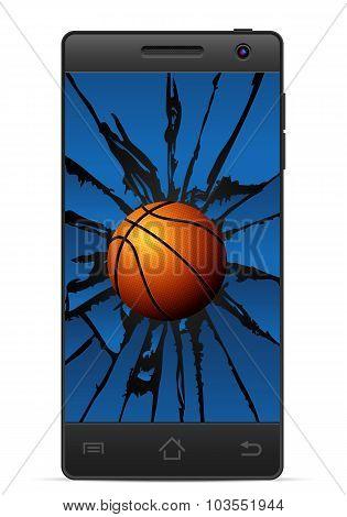 Cracked Smart Phone Basketball