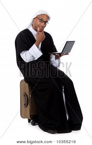 Young Attractive African American Man, Sheikh Laptop