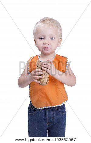 Boy Eating Baguette