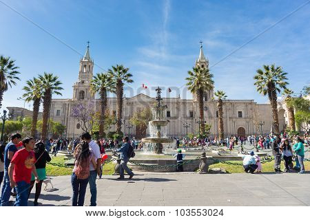 People In Plaza De Armas, Arequipa, Peru