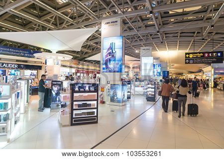 Duty Free Shopping Area Near The Departure Gates Of One Of Suvarnabhumi Airport's Main Terminals.