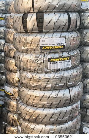 Tacks Of New Packed Tires