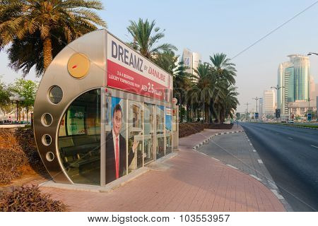 Enclosed, Air Conditioned, City Bus Stop In Downtown Dubai.