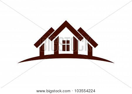 Abstract Vector Houses With Horizon Line. Can Be Used In Advertising. Real Estate Business Theme.