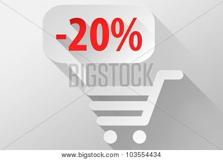 Shopping Sale 20% Widget And Icon 3D Illustration Flat Design