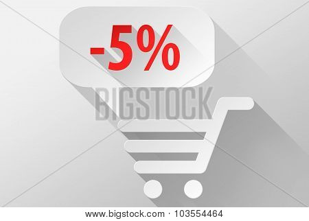 Shopping Sale 5% Widget And Icon 3D Illustration Flat Design