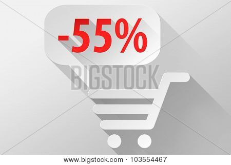 Shopping Sale 55% Widget And Icon 3D Illustration Flat Design
