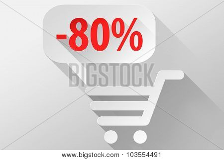 Shopping Sale 80% Widget And Icon 3D Illustration Flat Design