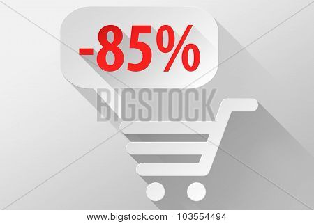 Shopping Sale 85% Widget And Icon 3D Illustration Flat Design
