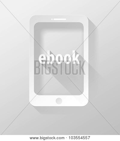 Smartphone Or Tablet E-book Icon And Widget 3D Illustration Flat Design