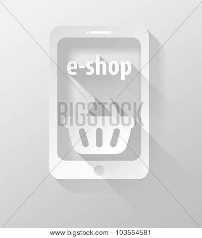 Smartphone Or Tablet E-shop Icon And Widget 3D Illustration Flat Design