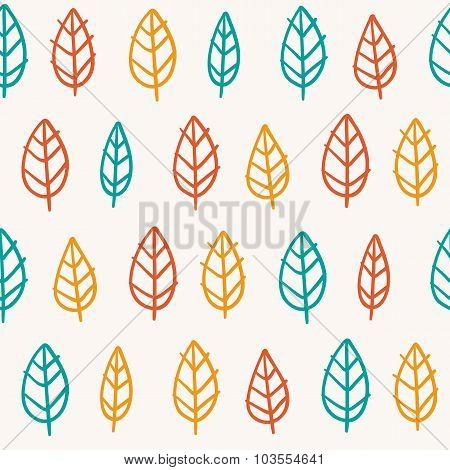 Cute Doodle Seamless Pattern With Bright Leaves