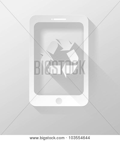 Smartphone Or Tablet Recycle Icon And Widget 3D Illustration Flat Design