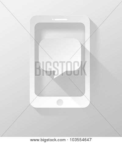 Smartphone Or Tablet With Bubble Speech Icon And Widget 3D Illustration Flat Design