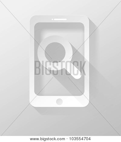 Smartphone Or Tablet With Zoom Icon And Widget 3D Illustration Flat Design