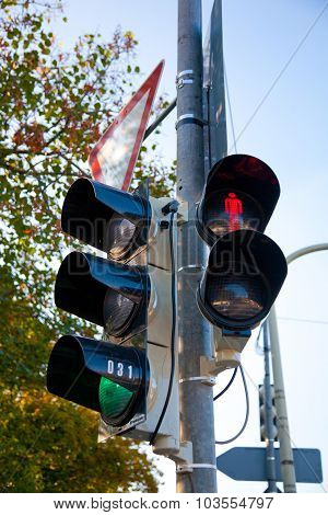 Traffic Lights For Cars And Pedestrians