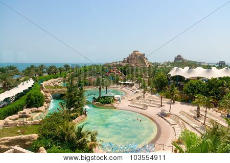 Beautiful Water Park At Atlantis, The Palm Luxury Resort Hotel In The United Arab Emirates.