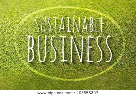 Sustainable Business On Green Grass Poster Illustration Of Nature