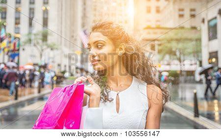 Beautiful Woman Making Shopping In New York City