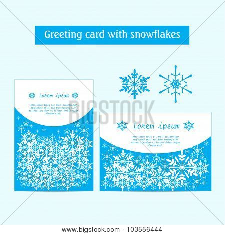 Vector. Winter banners with snowflakes on a blue background. Pos