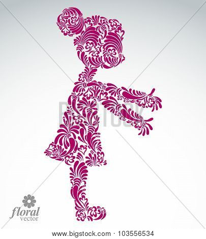 Art Illustration Of A Girl Stretching Her Hands. Cute Teenage Girl Wearing Flower-patterned Dress.