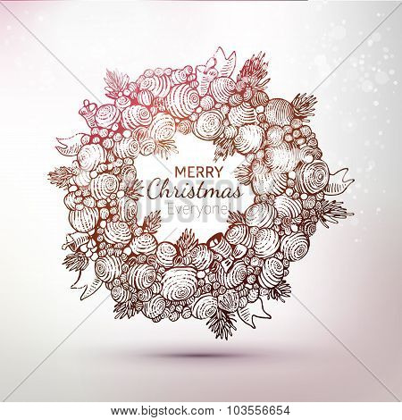 Hand Drawn Gravure Xmas Wreath Illustration