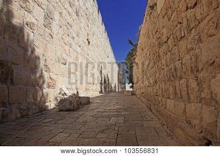 Jerusalem Old City Wall At Zion Gate