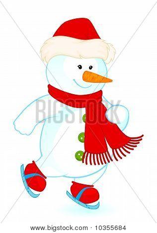 Vector cartoon little cute snowman