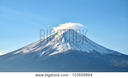Close Up Mount Fuji And Blue Sky At Kawaguchiko Japan