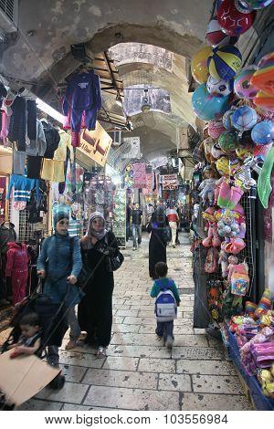 Jerusalem - Oct 28: Oriental Market In Old Jerusalem Offers Vari