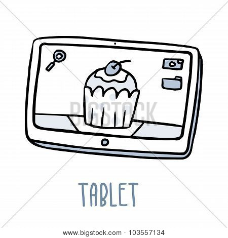Tablet. Cute Doodle Sketch Isolated On White