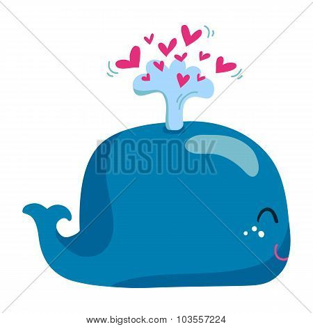 Cute Whale With A Fountain Of Hearts Isolated On White