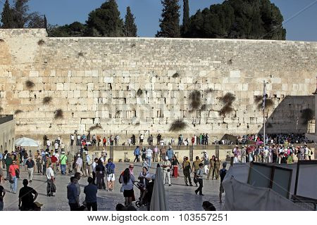 Jerusalem, Israel - October 28: People At The Wailing Wall Where Jewish Worshipers Pray. The Most Ho