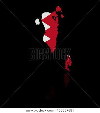 Bahrain map flag with reflection illustration