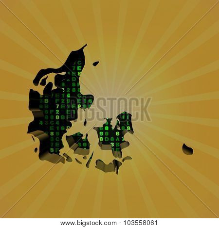 Denmark sunburst map with hex code illustration