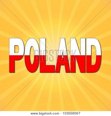 Poland flag text with sunburst illustration