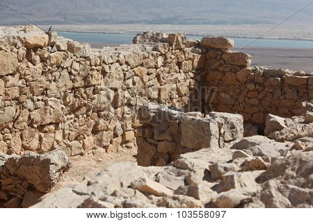 Ruins Of Ancient Temple. Masada, Israel