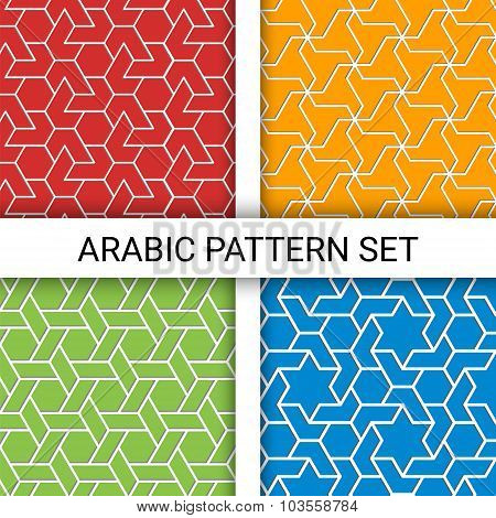 Set Of Four Arabic Colorful Backgrounds With Outline Extrude Effect. Based On Islamic Ethnic Ornamen