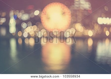 Defocused Bokeh Vintage Colored Night Harbor Lights Background