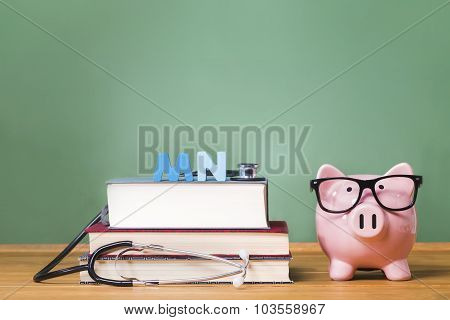 Master Of Nursing Mn Theme With Pink Piggy Bank