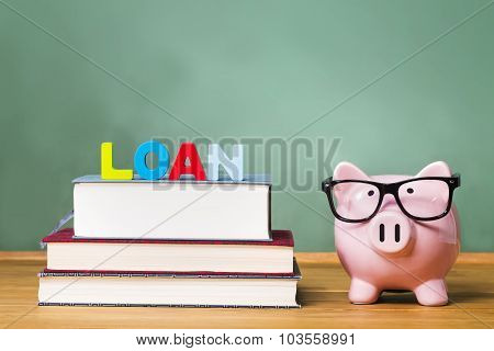 Student Loan Theme With Textbooks And Piggy Bank