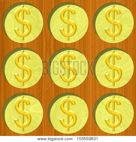 Nine Gold Dollar Coins On Wooden Desk Pattern Texture