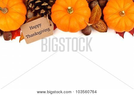Happy Thanksgiving tag with autumn top border over white