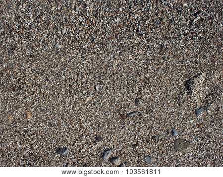 Wet Sand And Small Stones With Fragments Of Shells On The Beach